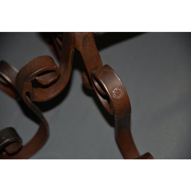 Pair of Jan Barboglio Wrought Iron Andirons For Sale - Image 4 of 6