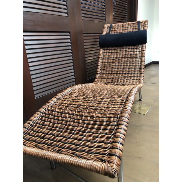 Modern Interior Wicker Chaise Lounge For Sale - Image 3 of 11