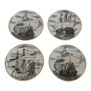 "Fornasetti Attr. Tall Ships ""Velieri"" Coasters - Set of 4"