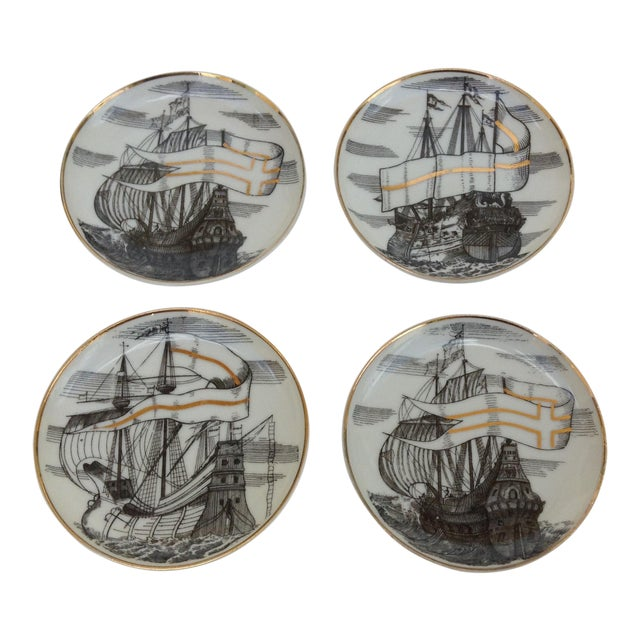 "Fornasetti Attr. Tall Ships ""Velieri"" Coasters - Set of 4 For Sale"