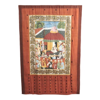 Fine Ottoman Empire Style Painted Double Silk Wall Hanging, the Ruler's Residence For Sale