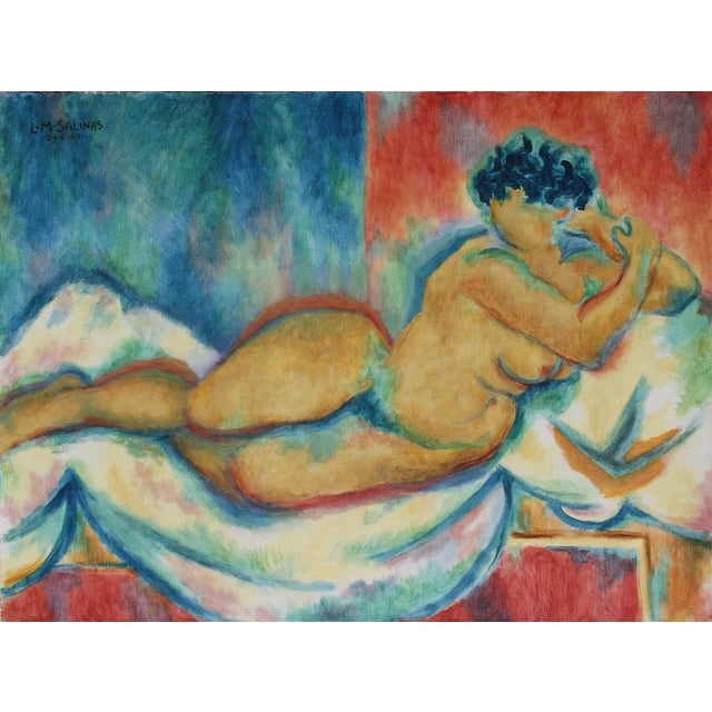 Laurent Marcel Salinas, Untitled - Lounging Nude, Oil on Canvas For Sale