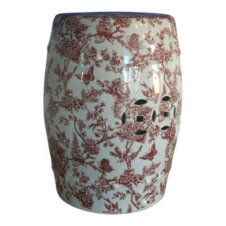 1960s Chinoiserie Red Porcelain Garden Stool/Side Table For Sale