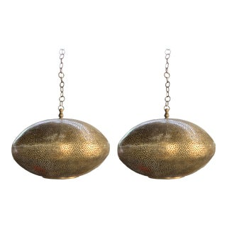 Oval Shaped Modern Gold Brass Pendant Chandeliers - a Pair For Sale