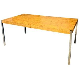 Mid Century Modern Milo Baughman Expanding Burl Wood & Chrome Dining Table