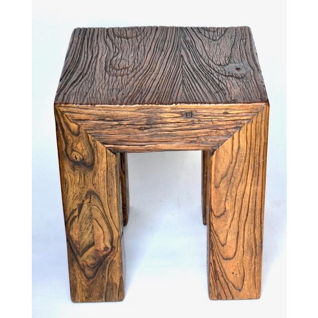 Modern Ron Mann Sand-Blasted Wood Side Table 1980s For Sale - Image 3 of 9