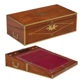 English Campaign Era Writing Box of Brass-Bound Mahogany For Sale
