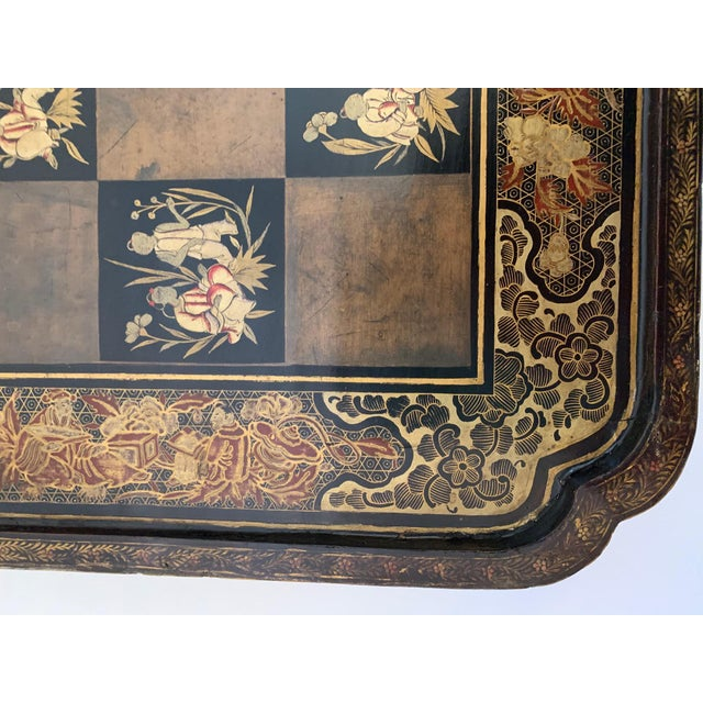 Black Chinese Hand Painted Lacquered Game Board For Sale - Image 8 of 13