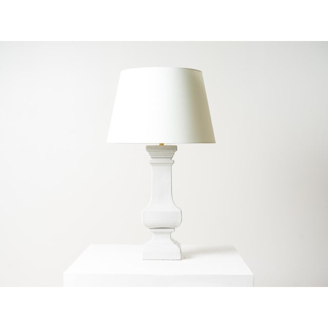Ceramic table lamp Shellish Gray finish Natural percale shade Socket: 1 - 100W Type A, E26 Dimmer