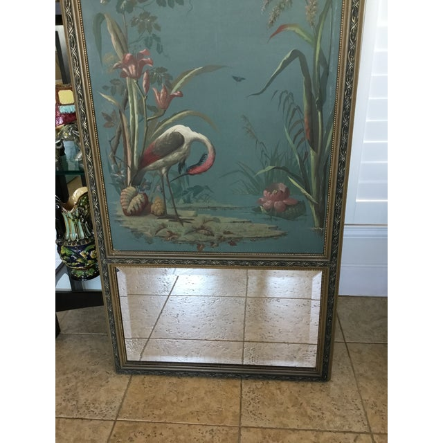 Antique Hand Painted Stork on Canvas Mirror - Image 4 of 5
