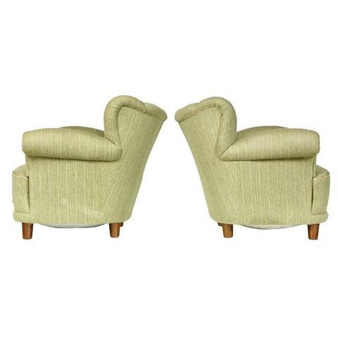 1940s Scandinavian Tufted Lounge Chairs - A Pair - Image 2 of 7