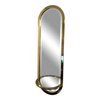 Mid Century Polished Brass Racetrack Beveled Mirror For Sale
