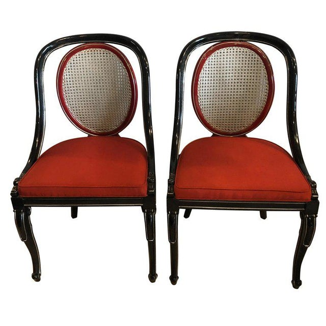 Black Pair of Ebony and Red Hollywood Regency Style Swan Head Arm or Office Chairs For Sale - Image 8 of 8