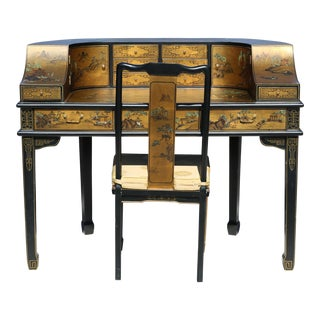 Vintage Harpsichord Gold Gilt Writing Desk and Chair