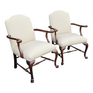 Pair Ethan Allen Georgian Court Cherry Queen Anne Open Fireside Armchairs C1990s For Sale