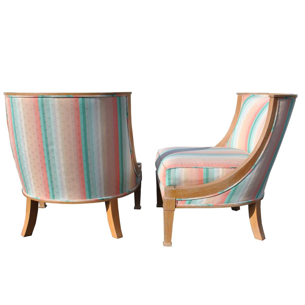 Attrayant Modern French Barrel Style Chairs   A Pair   Image 2 Of 6