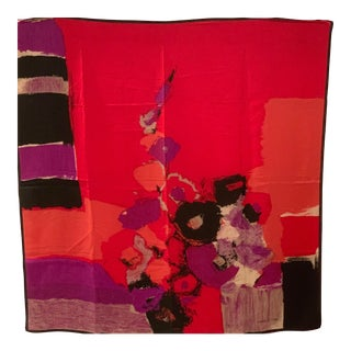 Bright, Beautiful Italian Silk Crepe Scarf; Lorenzo De Credi For Sale