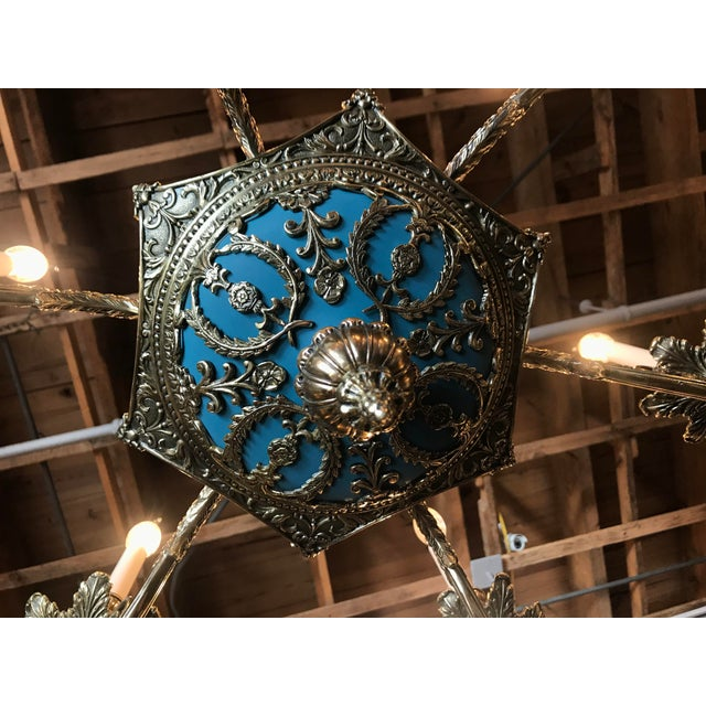 1900 - 1909 Russian Imperial Blue Bronze Chandeliers a Pair For Sale - Image 5 of 13
