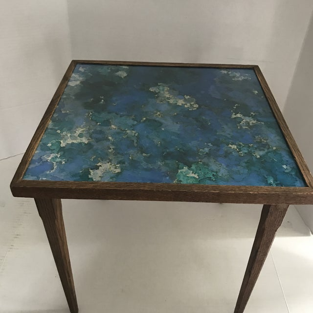 Blue Mid-Century Stacking Tables With Glass Tops - A Pair For Sale - Image 8 of 13
