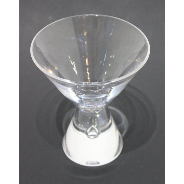Mid-Century Modern Steuben Martini Glasses Hand-Blown Tear-Shaped Bubble Signed - a Set of 4 For Sale - Image 10 of 11