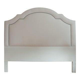 White Velvet Headboard With Pewter Nailheads