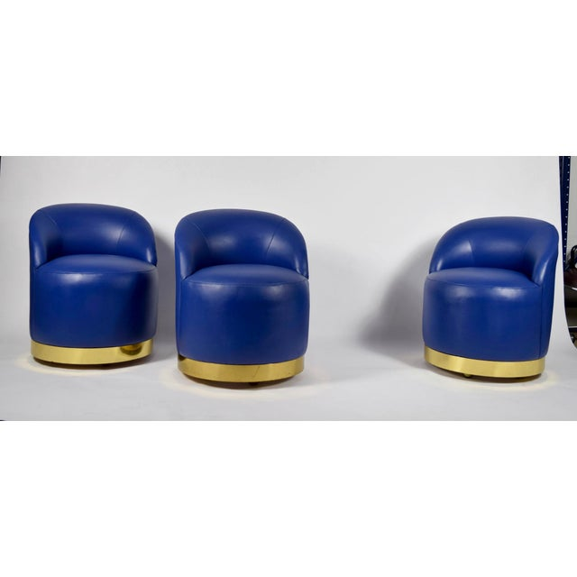 Karl Springer Karl Springer Style Chairs in Blue Leather with Brass Finish Base on Casters For Sale - Image 4 of 7
