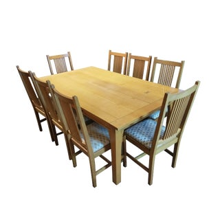 Stickley Contemporary Drawtop Butterfly Dining Set - 9 Pieces For Sale