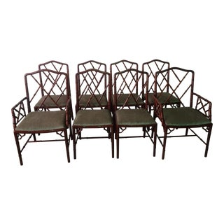 1960s Vintage Rose Wood Chinese Chippendale Style Faux Bamboo Dining Chairs- Set of 8 For Sale