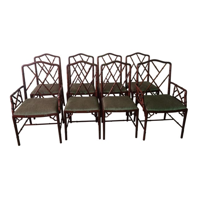Image of 1960s Vintage Rosewood Chinese Chippendale Style Faux Bamboo Dining Chairs- Set of 8