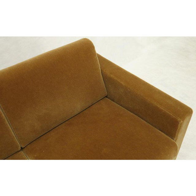 Mohair Loveseat on High Polish Stainless Steel Base Ward Bennet for Brickel For Sale - Image 10 of 12