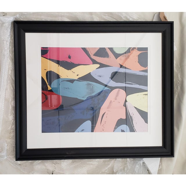 Lithograph 1980s Warhol Shoes Framed Print For Sale - Image 7 of 8