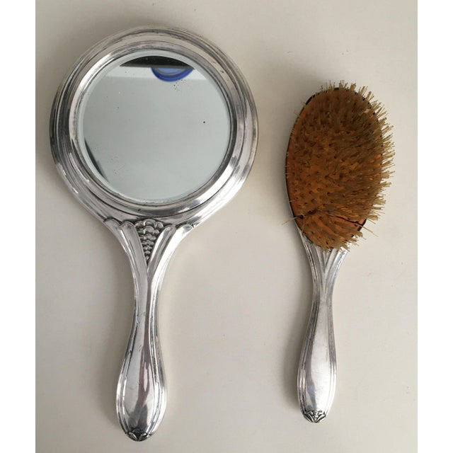 French 19th Century Sterling Silver Hand Mirror and Hair Brush For Sale - Image 3 of 12