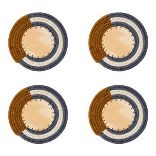 Round Sisal & Wood Stripe Coasters in Tobacco, Ink & Cream - Set of 4 For Sale