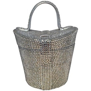Judith Leiber Vintage Swarovski Crystal Basket Evening Bag For Sale