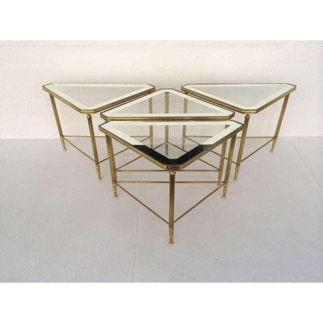 Brass and Glass Tables by Maison Jansen - Set of 4 For Sale In Palm Springs - Image 6 of 10