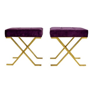 1940s Hollywood Regency Brass Stools - a Pair For Sale