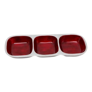 Waldorf Nickel Red Three Tiered Dish For Sale