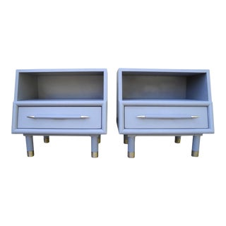 Mid-Century Modern Gray Nightstands by Brown Saltman of California - a Pair For Sale