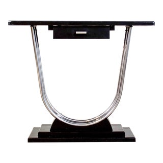 Art Deco Black & Chrome Console Table
