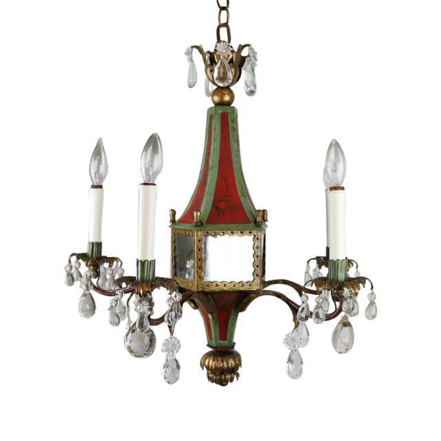 Italian Mirrored Tole & Crystal Chandelier - Image 1 of 11