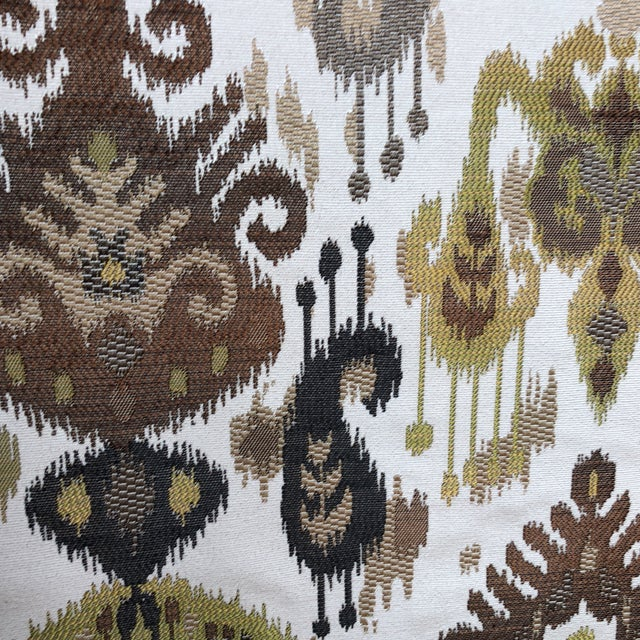 Contemporary Ikat Woven Fabric - 7 Yards For Sale - Image 3 of 5