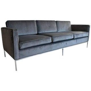 Charcoal Grey Velvet Three-Seat Sofa