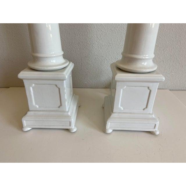 Guzzini 1950s Italian Porcelain Column Lamps - a Pair For Sale - Image 4 of 10