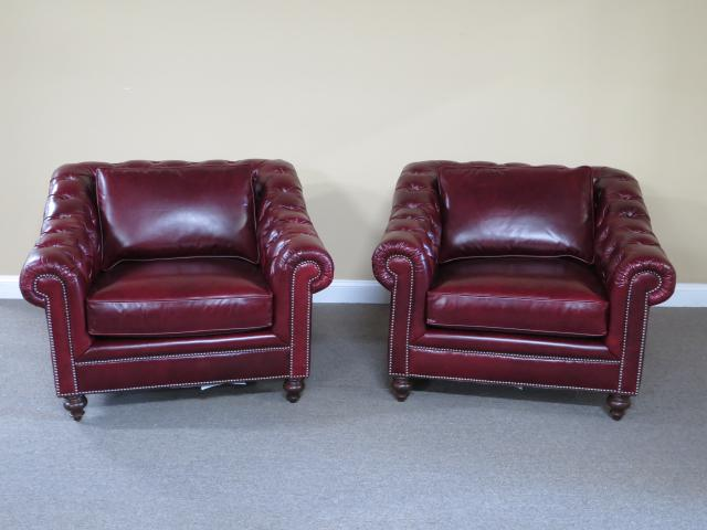 Henredon Red Leather Tufted Chesterfield Chairs   A Pair For Sale   Image  11 Of 11