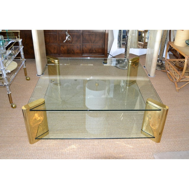Karl Springer Mid-Century Modern Brass & 2-Tier Glass Coffee Table, Signed For Sale - Image 12 of 13