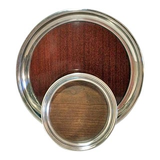 Mid-Century Modern Formica & Silver Plated Tray & Wine Coaster - a Pair For Sale