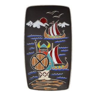 Mid 20th Century Italian Bitossi Style Ceramic Viking Motif Wall Plaque For Sale