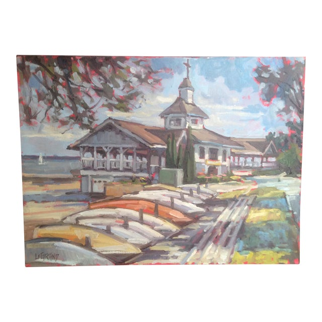 "Bright, Multicolored ""Lakeside Pavilion"" Original Oil Painting - Image 1 of 11"