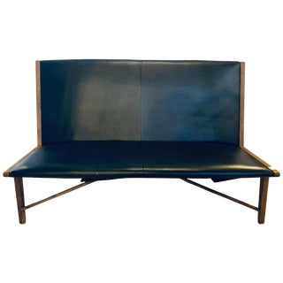Mid Century Modern Settee or Loveseat in Black Vinyl For Sale