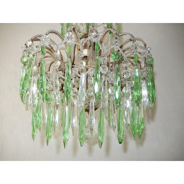 Italian Italian Micro-Beaded Green Crystal Prisms Chandelier For Sale - Image 3 of 10